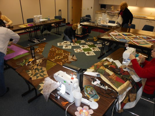 Material Girls - 2012 P.C. Quilters at work Feb..JPG