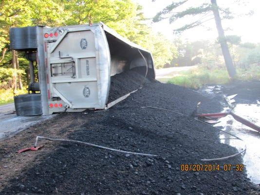Coal truck rollover