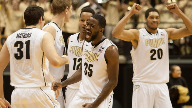 Purdue guard Rapheal Davis (35) celebrates after defeating the North Carolina State Wolfpack 66-61 at Mackey Arena.
