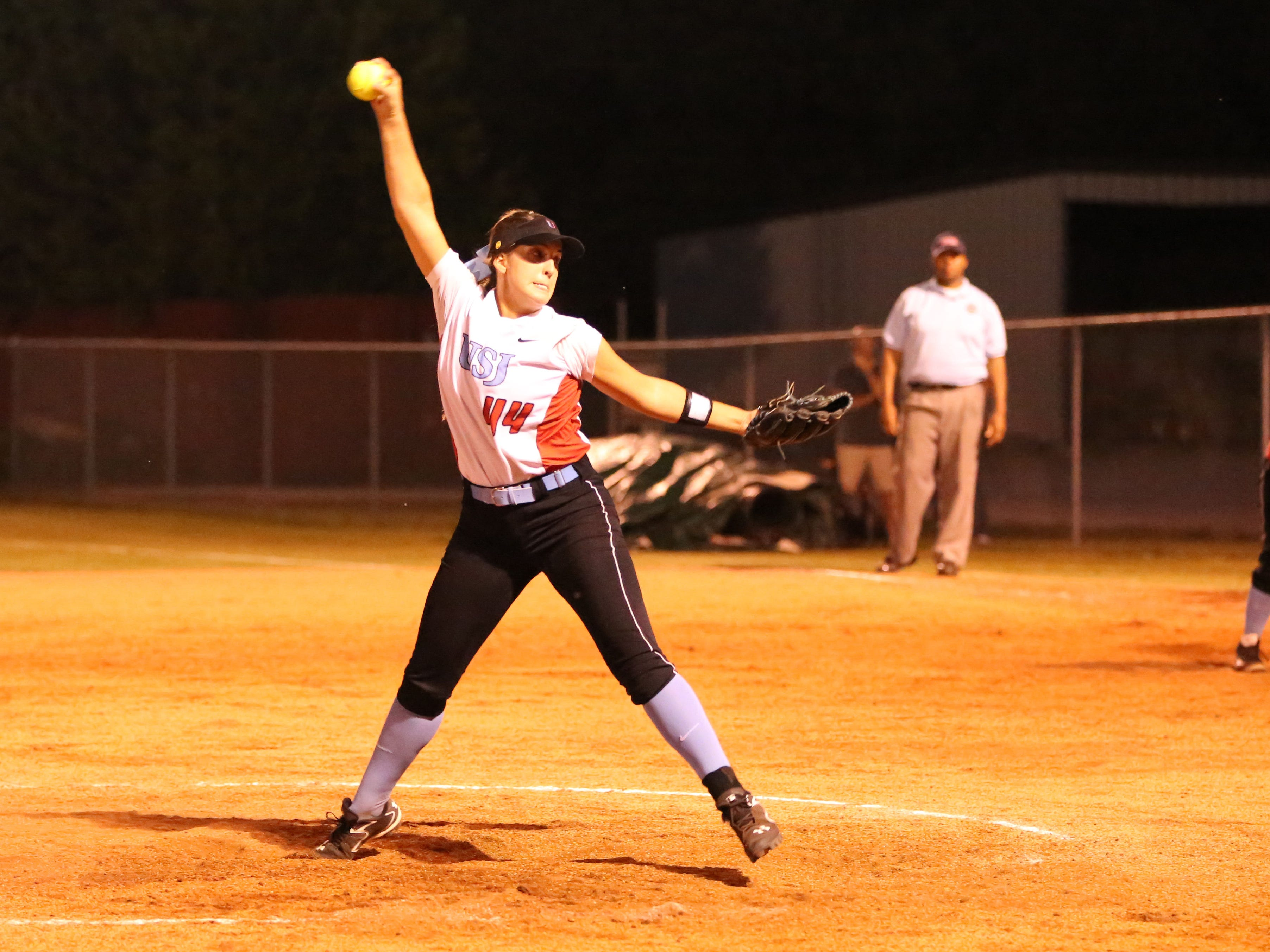 USJ's Ally McFarland delivers a pitch against Tipton-Rosemark on Thursday in the Division II-A West region championship.