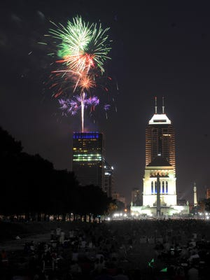 Fourth of July fireworks explode over the Downtown Indianapolis skyline in 2010.
