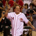 Pete Rose takes the field after the Reds' 3-2 win over the Dodgers at Great American Ball Park in September of 2013.