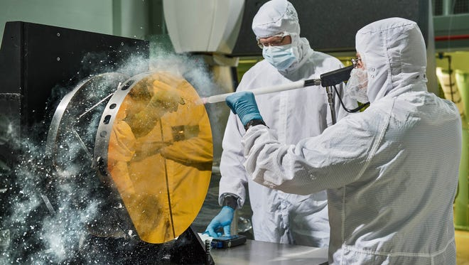 Harris engineers using carbon dioxide snow to clean James Webb Space Telescope's mirrors without scratching them.