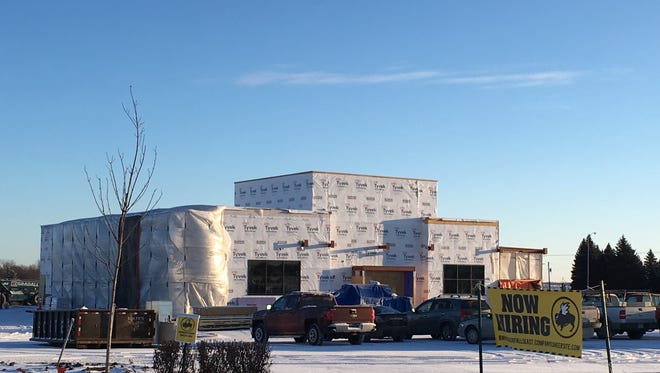 The under-construction Buffalo Wild Wings in Dawley Farms Village shopping center in northeast Sioux Falls.
