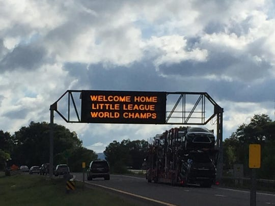 A sign on Route 17 welcomed the Maine-Endwell Little