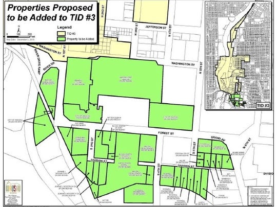 A map shows properties that may be added to Wausau's TID 3, a tax increment financing district that encompasses the east riverfront.