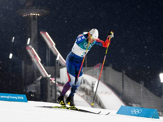 View of the ski jump venue as Simeon Hamilton (USA)