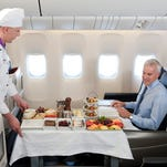 Flying chefs aboard Turkish Airlines prepare a fresh menu and personally serve a selection of hors d'oeuvres, followed by Turkish entrees.