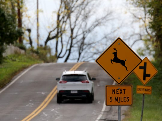 Deer crossing sign in Mendon.
