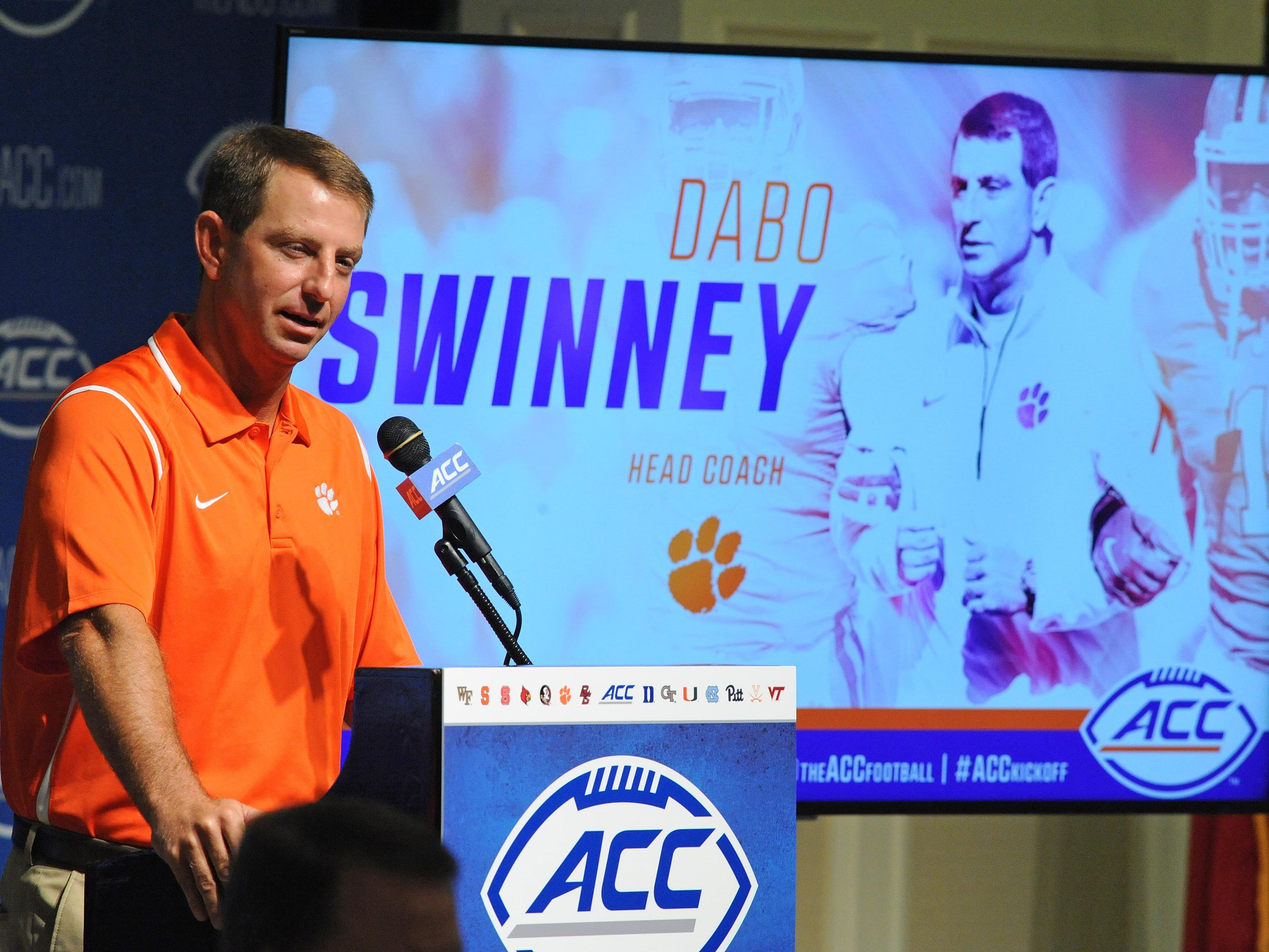 Clemson head coach Dabo Swinney answers questions during the ACC Football Kickoff Tuesday, July 21, 2015 in Pinehurst, N.C.