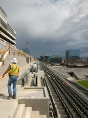 Construction continues in the upper concourse on the