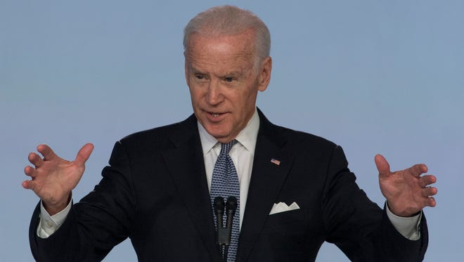 Former Vice President Joe Biden speaks at the 5th annual Work Patient Safety, Science and Technology Summit on  Friday, Feb. 3, 2017, in Dana Point, Calif.