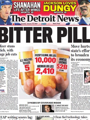 The front page of The Detroit News on Jan. 23, 2007.