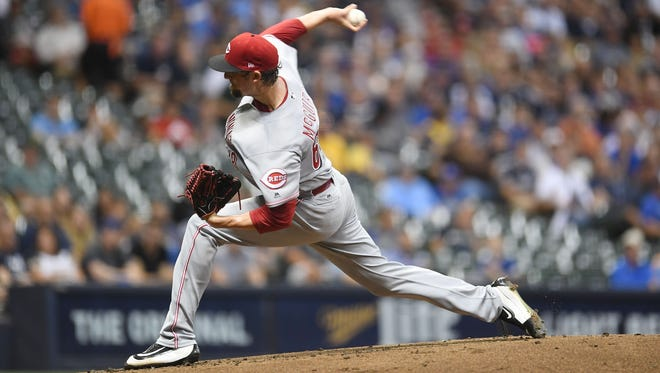 Cincinnati Reds pitcher Deck McGuire throws a pitch during the first inning of a game against the Milwaukee Brewers at Miller Park on September 26, 2017 in Milwaukee, Wisconsin.  (Photo by Stacy Revere/Getty Images)