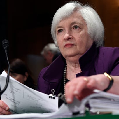 Federal Reserve Chair Janet Yellen prepares to testify