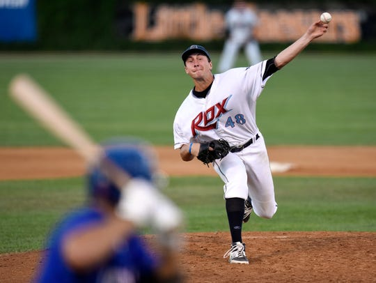Aaron Rozek pitches for the Rox during Tuesday's game