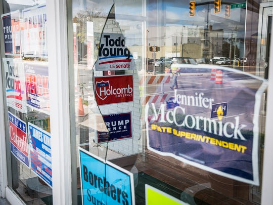 A window at the Republican Party Headquarters in Muncie remains broken following a vandalism incident that occurred in October.