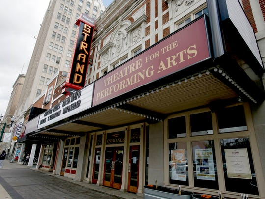 Exterior of the Flagstar Strand Theatre for the Performing Arts in downtown Pontiac on Friday, May 4, 2018.