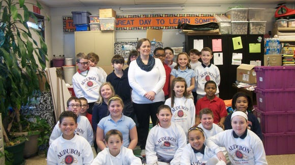Audubon Traditional Elementary teacher Carrie Reardon with some of her students.