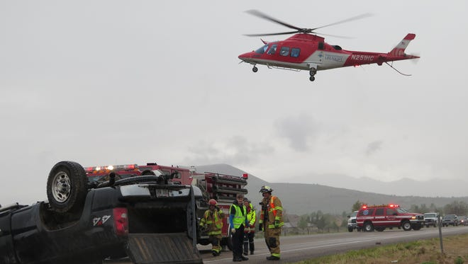 A Life Flight medical helicopter was called to the scene of an accident on State route 18 near Dammeron Valley on Monday, May 18, 2015.
