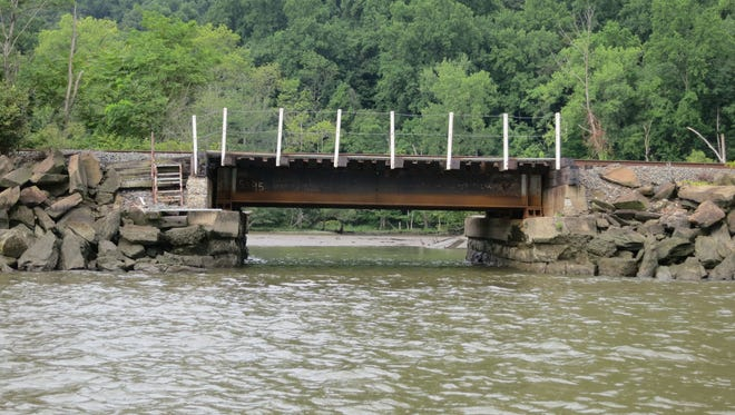 Riverkeeper and a coalition of environmental groups want the government to take over inspections of rail bridges like this one in Cornwall-on-Hudson, which showed signs of deterioration. Currently, railroad companies inspect and monitor their bridges.