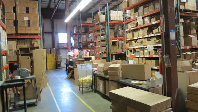 The warehouse at EZ-Red in Deposit is full of products ready to be shipped out.