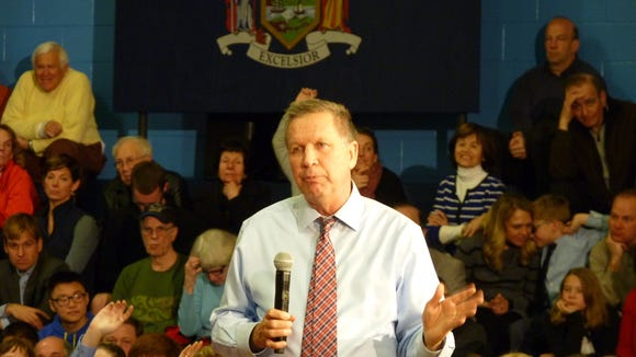 Republican presidential candidate John Kasich speaks at a school in Troy, NY, on April 11, 2016