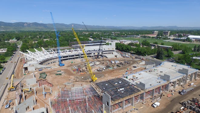 A recent aerial photo  shows the progress of construction on CSU's on-campus stadium, set to open for the 2017 football season.