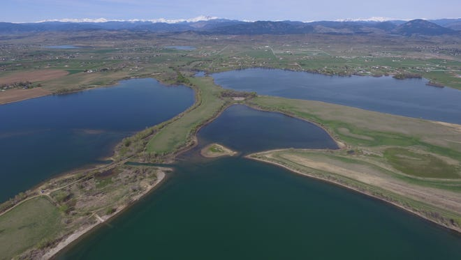 An aerial view of the site of the TPC of Colorado golf course being built in Berthoud.