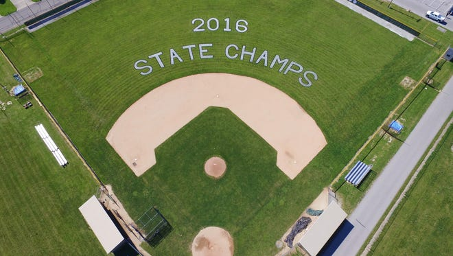 Daleville's baseball diamond, complete with a new 'state champs' paint job, shot from 400 feet up.