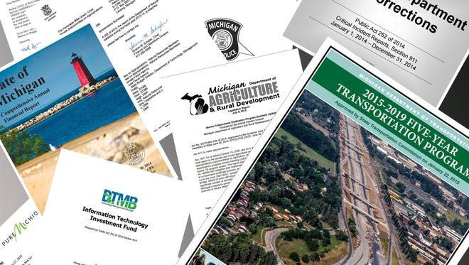 The covers of some of the reports state departments must compile every year.