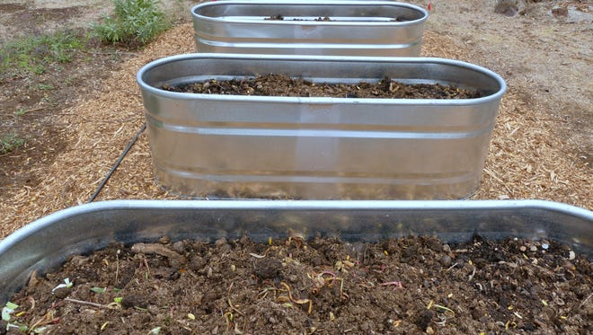A livestock watering trough from Wilco Farm Store is filled with compost for planting in the spring as a raised bed.