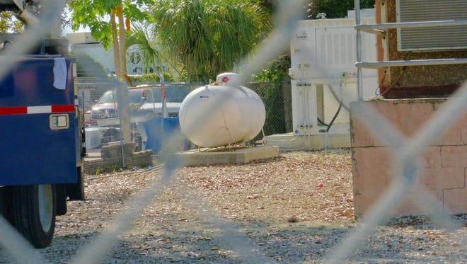 BalGas above ground 500 gallon propane tank contained on Oct. 8, 2016. It will be removed from Shirley Street location, and replaced.