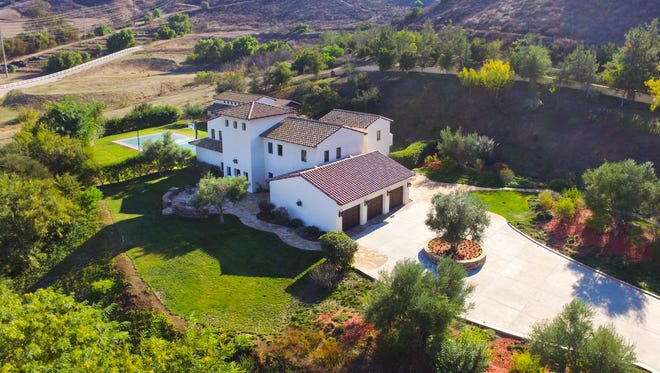 The Tuscan-style estate at 2624 Marvella Court in the Santa Rosa Valley is situated on six acres.