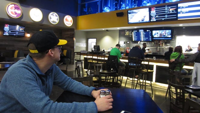 Flix Brewhouse lobby and bar area in Des Moines