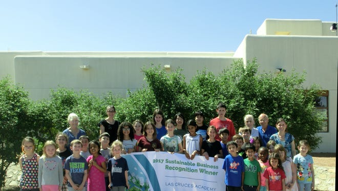 Students and teachers from Las Cruces Academy celebrate winning the Las Cruces Green Chamber of Commerce's Sustainable Business of the Year, 2017.
