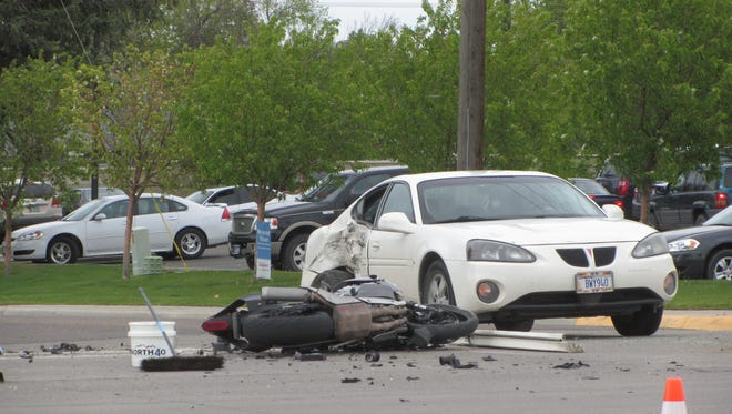 A car and motorcycle collided at 23rd Street and 10th Avenue South Saturday, sending one to the hospital.