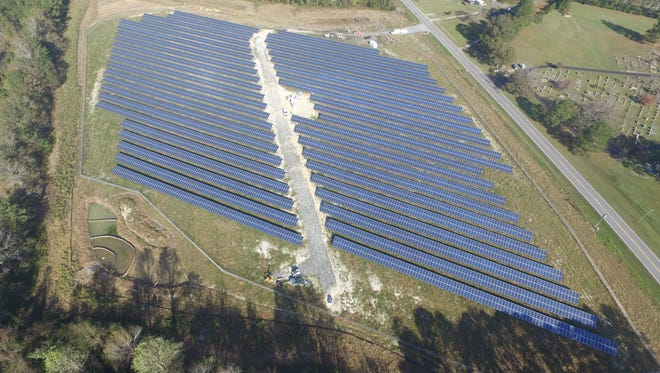A solar array constructed by Cypress Creek Renewables in Clarkton, North Carolina. The company has several proposals to build solar farms in the Hudson Valley.