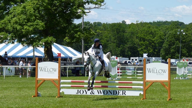 A horse jumping during the first day of the revived Mars Essex Horse Trials at Moorland Farms in Far Hills.