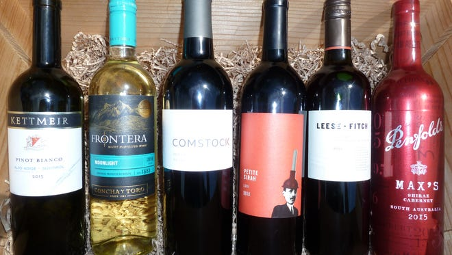 Kettmeir Pinot Bianco, 2015, $22. Frontera Moonlight White Blend, 2016, $6. Comstock Dry Creek Valley Zinfandel, 2013, $36. Plungerhead Petite Sirah, 2015, $14. Leese Fitch Firehouse Red Wine, 2015, $12. Max's Shiraz Cabernet (Penfold's), 2015 $25.
