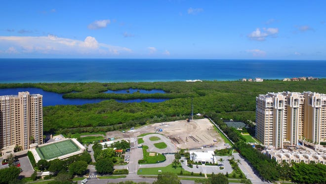 The development site for Mystique, a 20-story ultra-luxury high-rise in Pelican Bay.