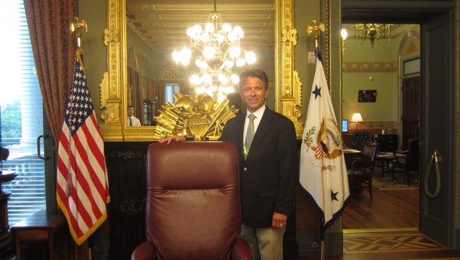 Sandusky County Commissioner Scott Miller visits Vice President Mike Pence's office at the Eisenhower Building in Washington D.C.