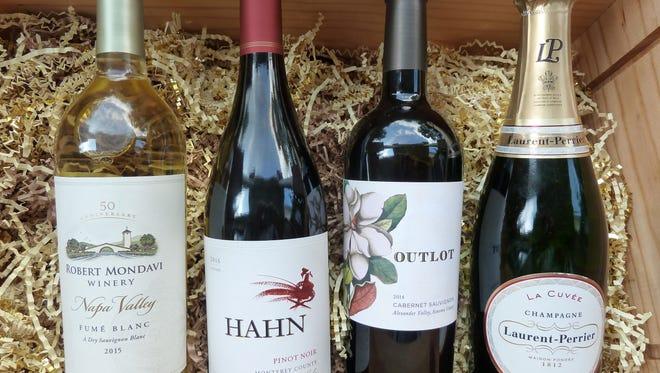 2015 Robert Mondavi Fume Blanc, $20 2016 Hahn Pinot Noir, $14 2014 Outlot Cabernet Sauvignon, $25 Laurent-Perrier Le Cuvee Champagne (NV) $50