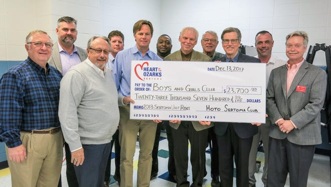 HOTO Sertoma presents check to Boys & Girls Clubs of Springfield Board President Tim O'Reilly at December Board Meeting