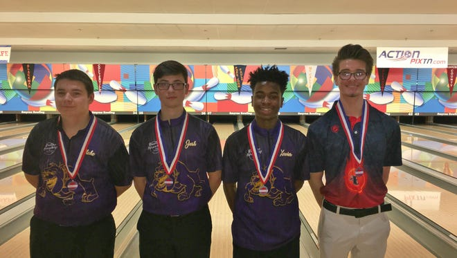 Four Rutherford County bowlers who were in the individual finals included (l-r) Smyrna's Blake Evans (sixth), Josh Meeke (fourth) and Xavier Powell-Short (second) and Blackman's Jacob Berry (fifth).