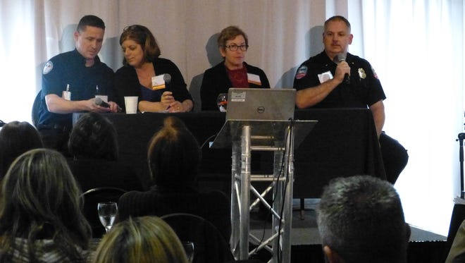 Jason Swann, of Dignity Health North State, Judy Cline of Enloe Medical Center, Lyrae Sullivan of Mercy Medical Center-Redding, and Marc Belden of American Medical Response were on the panel to reflect on the Rancho Tehama Shooting.