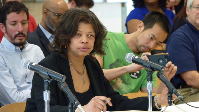 Linda Dorsey-Agudosi testifying before the Assembly Oversight, Reform and Federal Relations Committee on Saturday in Edison on her medicinal marijuana use.