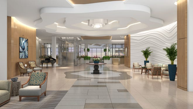 The clubhouse at Moorings Park Grande Lake will feature a luxurious lobby with intricate ceiling.