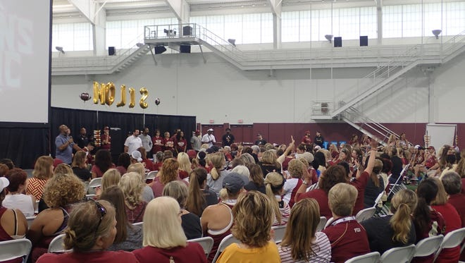FSU football coach Willie Taggart held his first Women's  Clinic Saturday.
