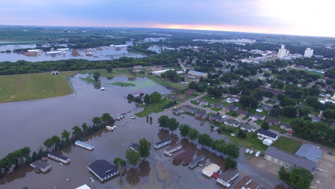 Drone footage shows flooding in Rock Valley on Friday morning.